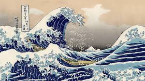 """""""Under a wave off Kanagawa""""), also known as The Great Wave or simply The Wave, is a woodblock print by the Japanese ukiyo-e artist Hokusai."""