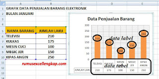 hasil pengaturan data label dan data tabel pad grafik