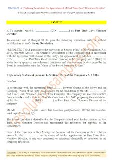 Resolution for Appointment of Part Time Govt Nominee Director