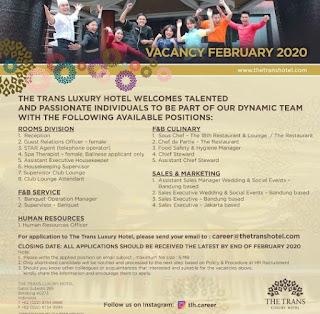 Lowongan Kerja Trans Luxury Hotel Bandung Terbaru 2020