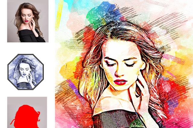 Sketch Watercolor Effect PS Action 52035