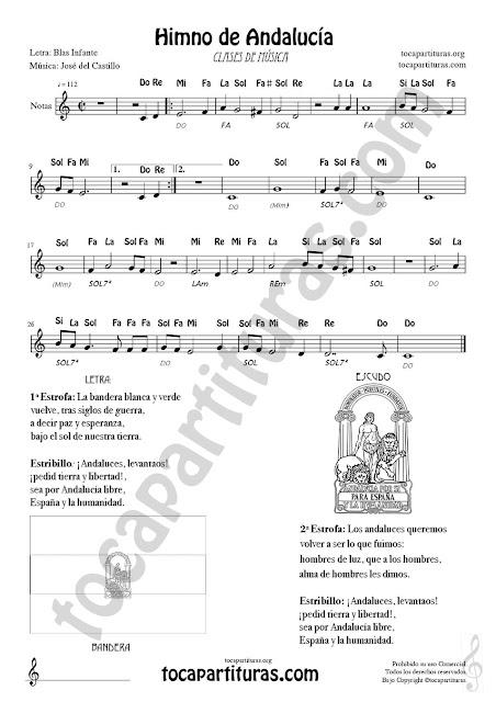 Partitura con Notas y Ficha 1 (en vertical) para tocar el Himno de Andalucía en Clases de Música. Incluye letra, escudo y bandera para colorear y acordes para acompañar con piano o guitarra por parte del profesor Andalusian Anthem (Hymn) Sheet music for treble clef flute violin oboe...