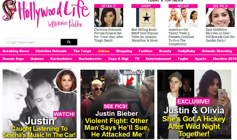 Justin Bieber urges his fans to spam and shutdown Hollywoodlife.com