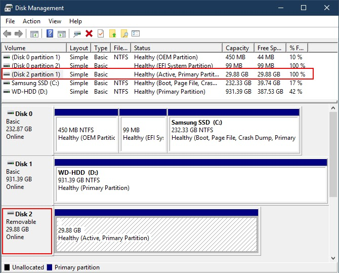 Windows Disk Management Removable Disk