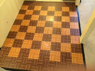 Greatmats Max Tile Portable Dance Tile installed over carpet
