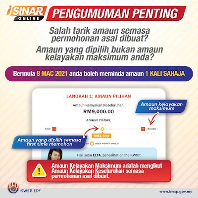 Cara Tukar Amaun i-Sinar Online Mulai 8 Mac 2021 (Permohonan Baru)