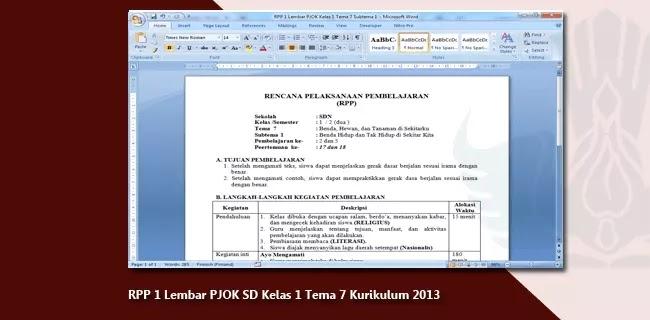 RPP 1 Lembar PJOK SD Kelas 1 Tema 7 Kurikulum 2013