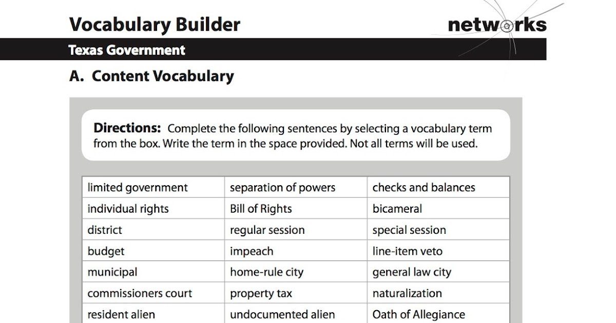 vocabulary builder activity networks answer key