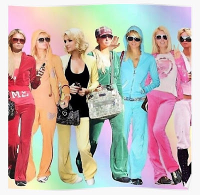 Paris Hilton collage in early 21st century Juicy Couture tracksuits