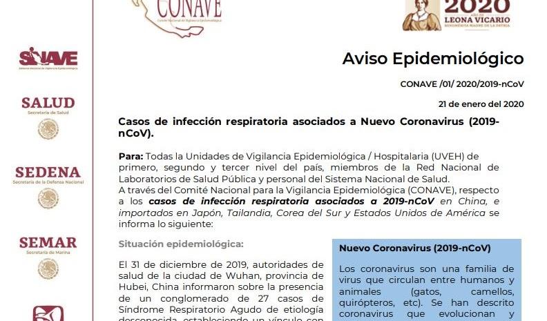 Aviso Epidemiológico - Casos de infección respiratoria asociados a Nuevo Coronavirus