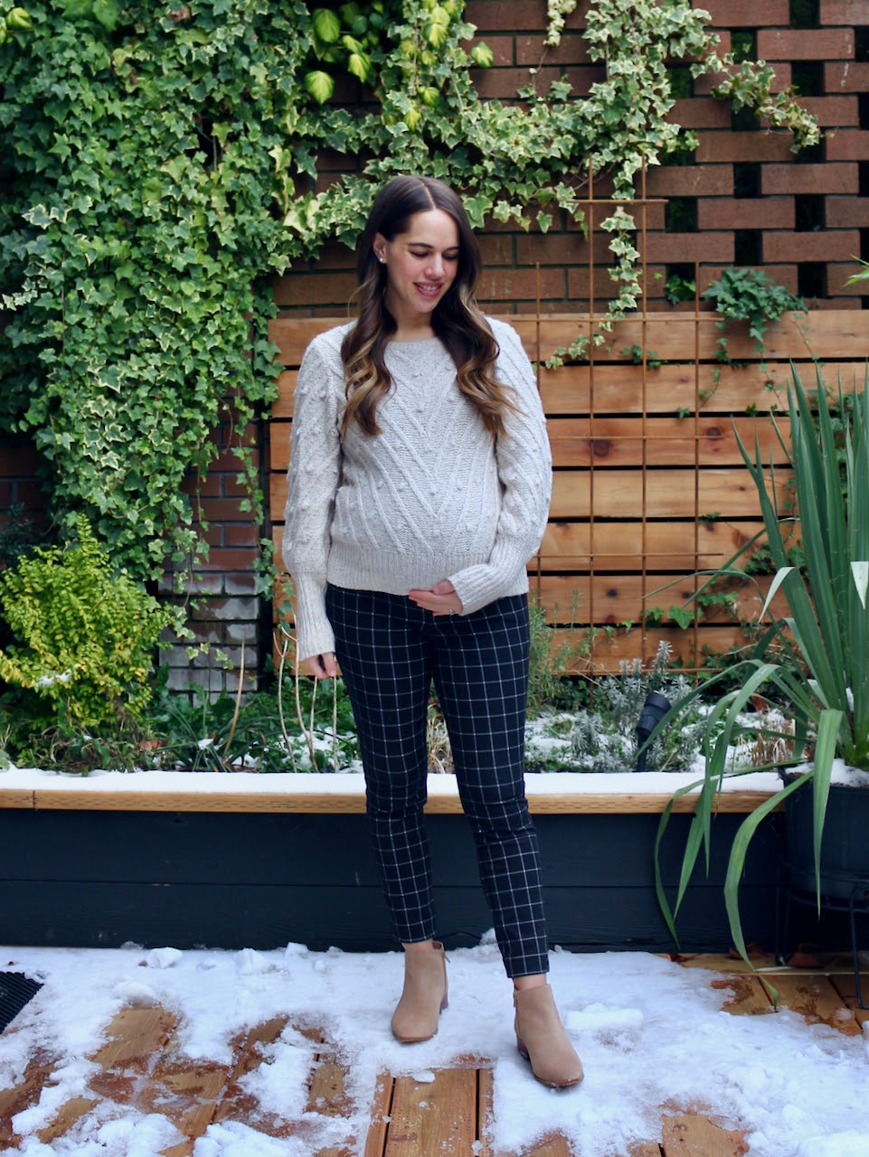 Jules in Flats - Windowpane Pixie Pants with Bobble Stitch Sweater (Business Casual Workwear on a Budget)