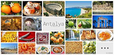 Antalya'nın meşhur şeylerini gösteren resimlerden oluşan kolaj
