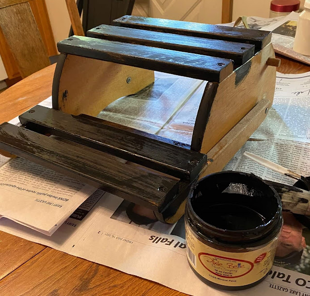 Photo of painting a folding step stool/chair black