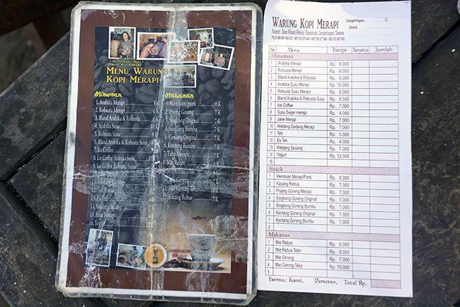 Daftar menu dan harga di Warung Kopi Merapi