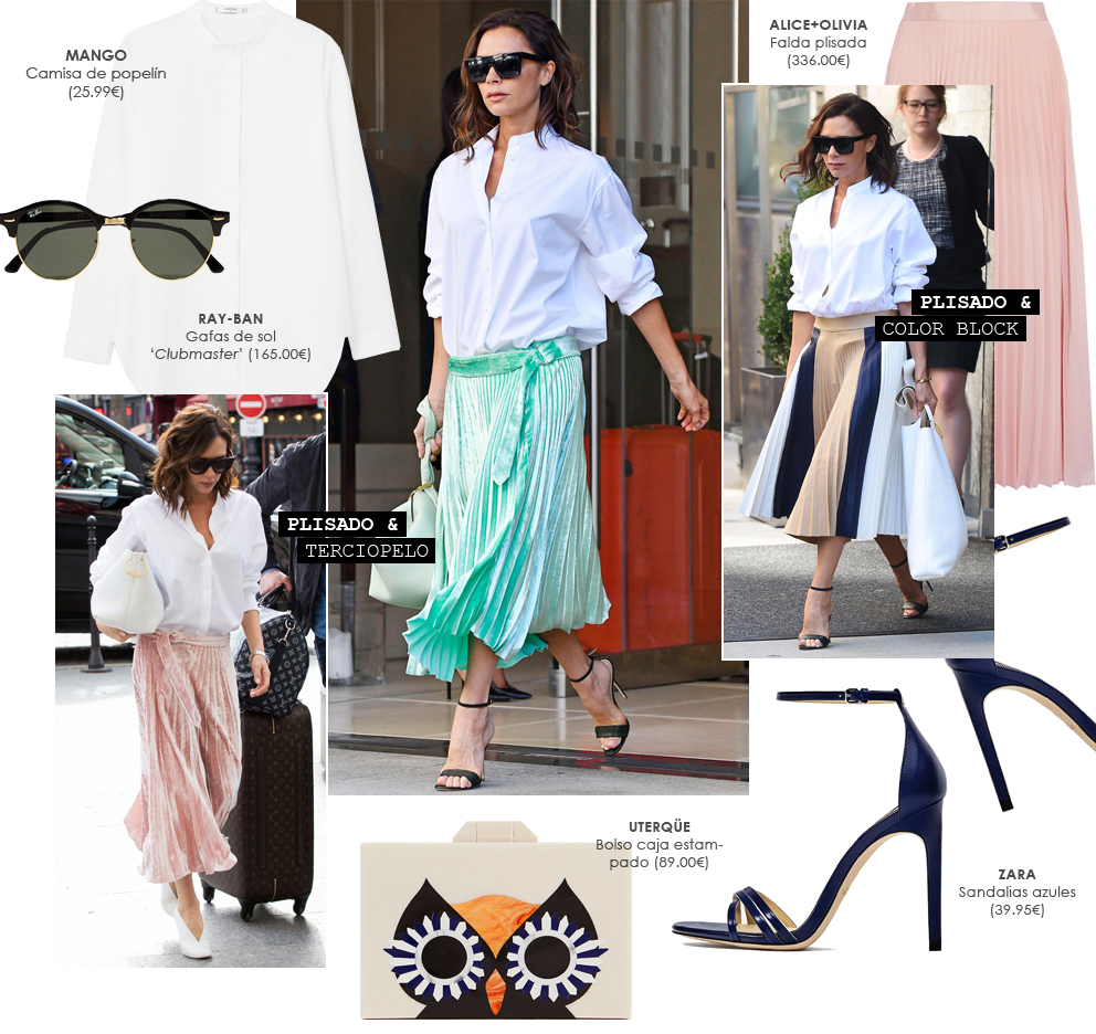 Las 3 versiones de camisa + falda de Victoria Beckham