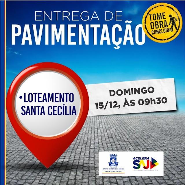 Prefeitura entrega neste domingo (15) pavimentação do Loteamento Santa Cecília
