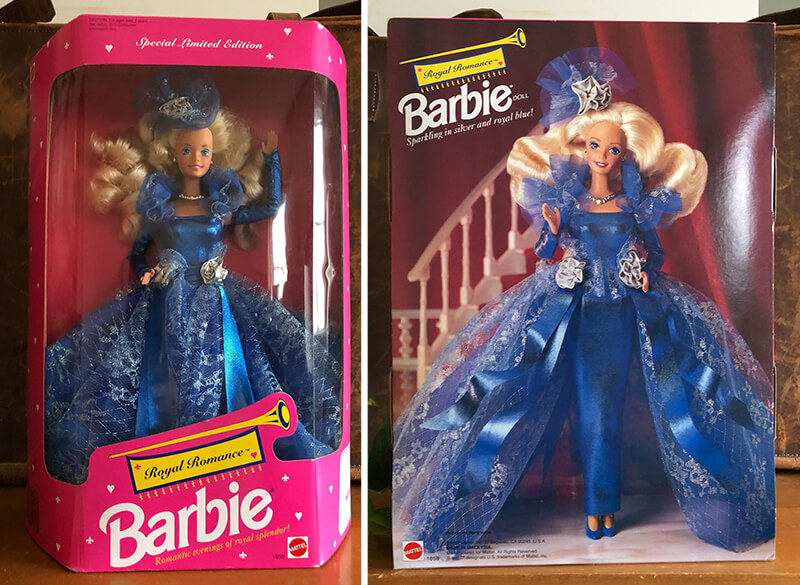 Blonde Royal Romance Barbie 1992 doll in blue dress