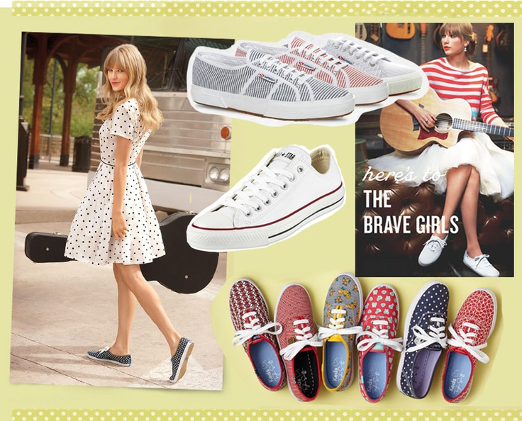 cute summer style, vintage day dresses with sneakers, Taylor Swift for Keds
