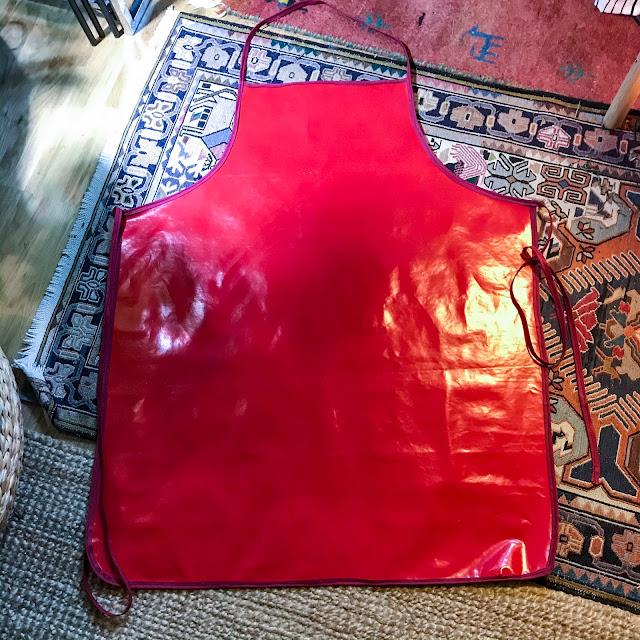 förkläde, apron, vaxduk, oilcloth