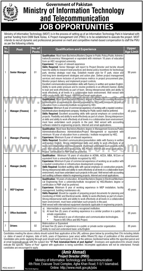 Jobs In Ministry Of Information Technology And Telecommunication Islamabad 2018 for 9 Vacancies