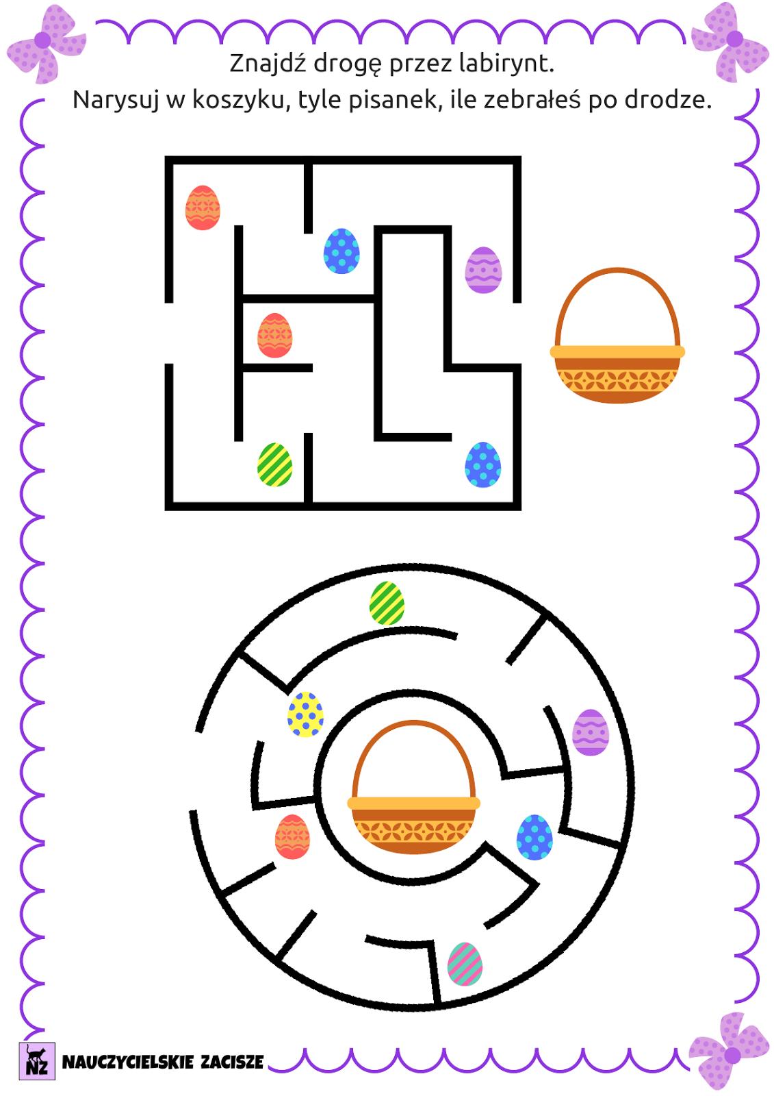 Nauczycielskie zacisze: Wielkanocne pomoce cz.2 - labirynty, wykreślanka,  zaszyfrowane wyrazy