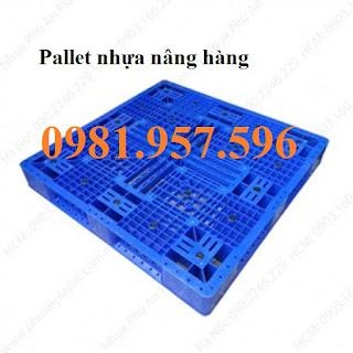 Pallet nhựa nâng hàng, pallet nhựa dùng cho xe nâng, xe kéo hàng, kê hàng hóa