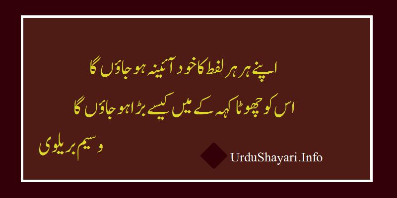 Apnay Har Har Lafz Ka  Shero Shayari Urdu By Waseem  - 2 lines on Ainaa