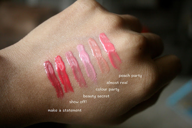 Essence Liquid Lipstick make a statement,show off!, beauty secret,color party,almost real,peach party swatches