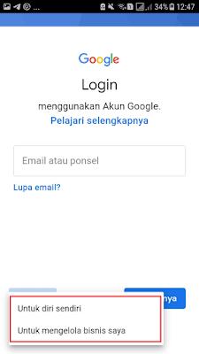 Pilih Jenis Akun Email