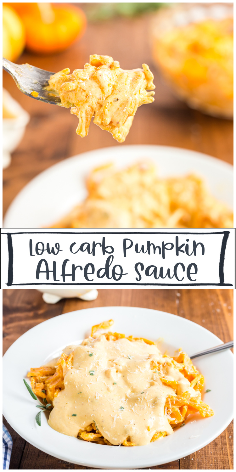 This Pumpkin Alfredo Sauce is an easy weeknight dish with a few ingredients, is done in less than 20 minutes, plus it is low carb and gluten-free! #pumpkin #lowcarb #alfredo #sauce #keto #glutenfree #recipe