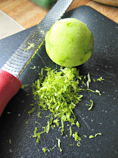 Lime zest to be used in Whole Grain Banana Bread with Lime.