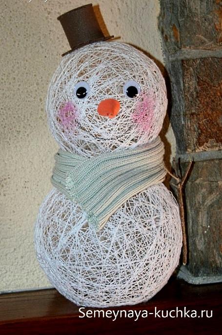 hacer un muñeco de nieve con hilo