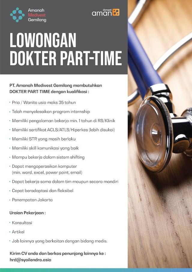 Loker Dokter Part Time PT. Amanah Medivest Gemilang Penempatan Jakarta