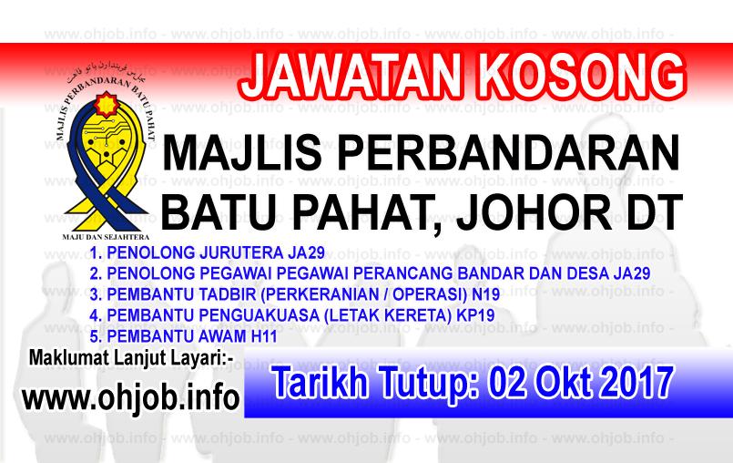 Jawatan Kerja Kosong MPBP - Majlis Perbandaran Batu Pahat logo www.ohjob.info oktober 2017