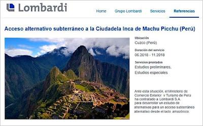 Consultoría de Lombardi ascensor Machu Picchu
