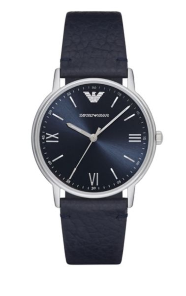 Emporio Armani Kappa Stainless Steel Leather-Strap Watch