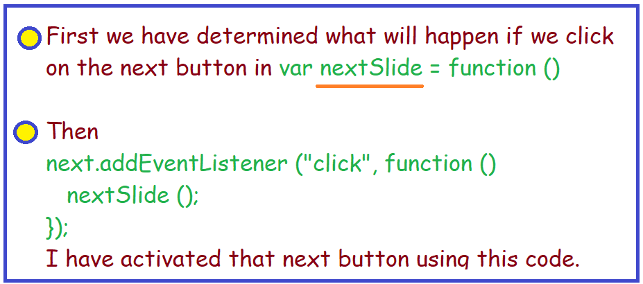 determined what kind of effect will work if you click on the previous button.