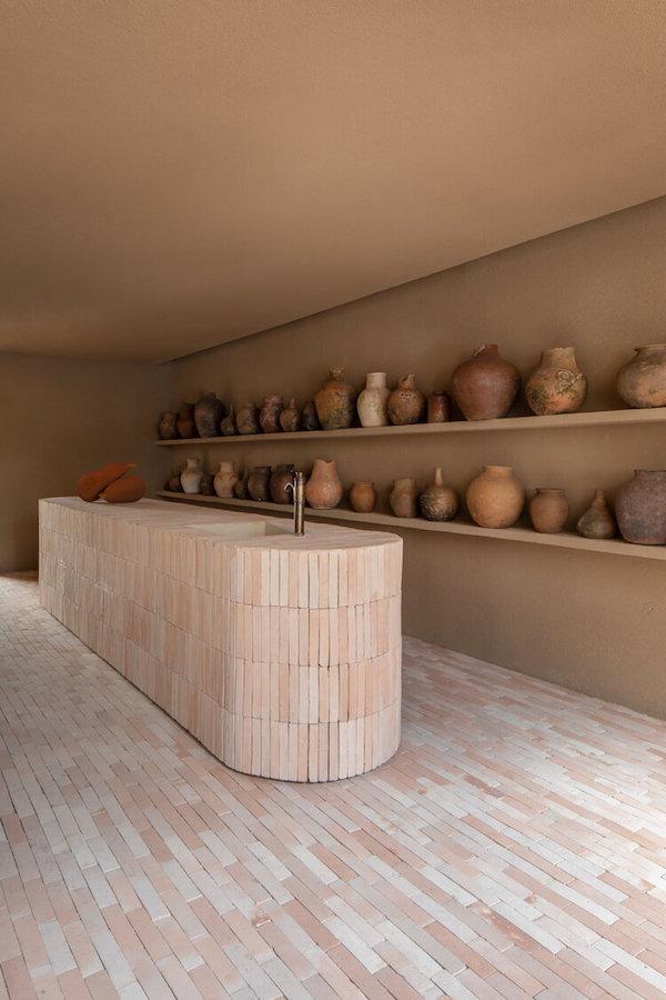 ceramics vases brick countertop