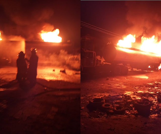 Petrol Tanker On Fire At Gowon Estate, Ipaja Road, Lagos (Photos)