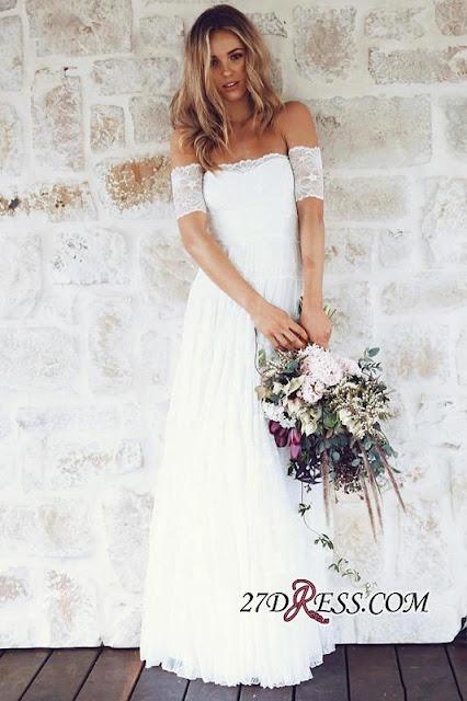 Summer Lace Short-Sleeve Elegant Long Beach Wedding Dress