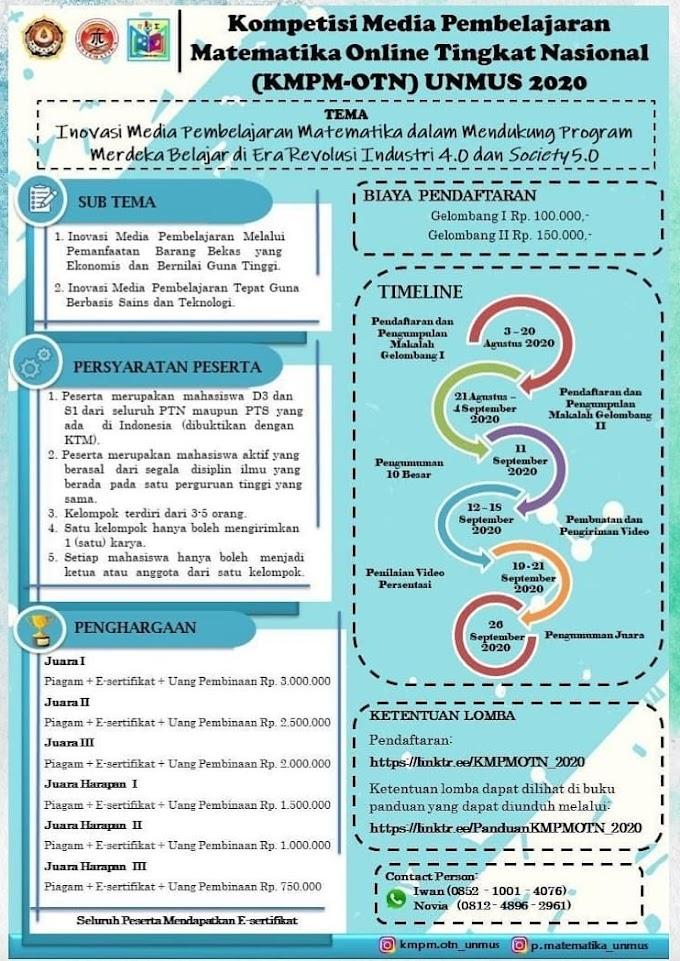 Kompetisi Media Pembelajaran Matematika Online Tingkat Nasional (KMPM-OTN) 2020