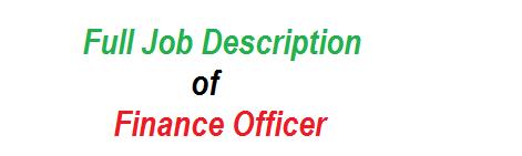 Full Job Description of Finance Officer