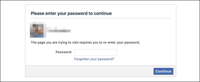 أدخل كلمة المرور لإلغاء تنشيط حساب Facebook