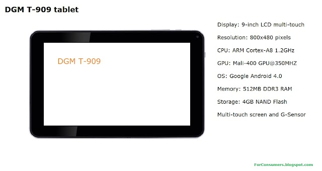 DGM T-909 tablet specifications