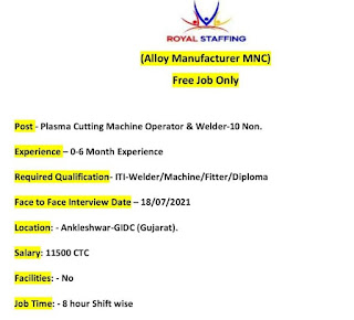 Recruitment For ITI and Diploma Holders For  Plasma Cutting Machine Operator & Welder Position in Ankleshwar, Gujarat
