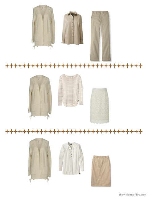 a metallic cardigan dresses up A Common Wardrobe for the winter holidays