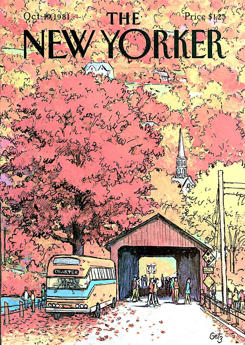 Arthur Getz for The New Yorker Magazine October 19 1981, a covered bridge in Autumn
