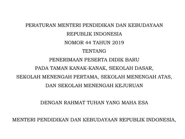 Ini Aturan PPDB Tahun 2020 Sesuai Permendikbud Nomor 44 Tahun 2019