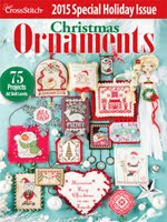 FIND BLUE RIBBON DESIGNS IN THE JUST CROSSSTITCH 2015 ANNUAL CHRISTMAS ORNAMENT ISSUE