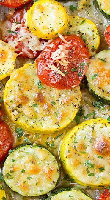 Roasted Garlic-Parmesan Zucchini, Squash and Tomatoes